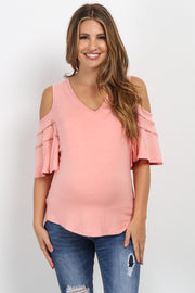 Peach Cold Shoulder Crochet Accent Maternity Top