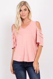 Peach Cold Shoulder Crochet Accent Top