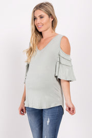 Light Olive Cold Shoulder Crochet Accent Maternity Top