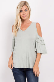 Light Olive Cold Shoulder Crochet Accent Top