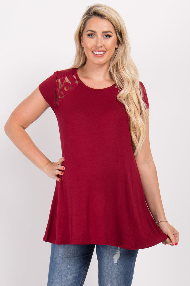 Burgundy Solid Lace Accent Maternity Top