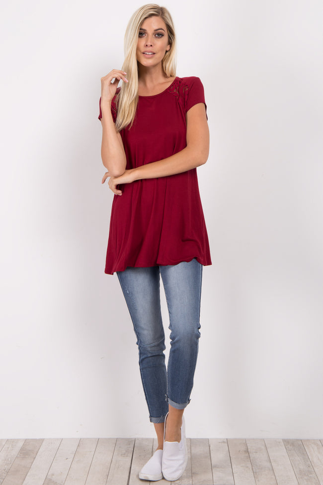 Burgundy Solid Lace Accent Top