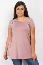 Mauve Solid Lace Accent Plus Top