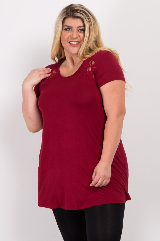 Burgundy Solid Lace Accent Plus Top