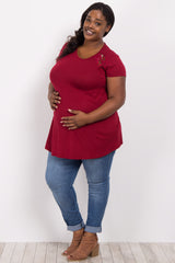Burgundy Solid Lace Accent Plus Maternity Top