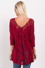 Burgundy Lace Back 3/4 Sleeve Top