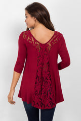 Burgundy Lace Back 3/4 Sleeve Maternity Top