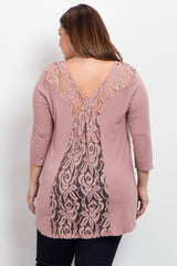 Mauve Lace Back 3/4 Sleeve Plus Top