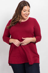 Burgundy Lace Back 3/4 Sleeve Plus Top