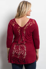 Burgundy Lace Back 3/4 Sleeve Plus Maternity Top
