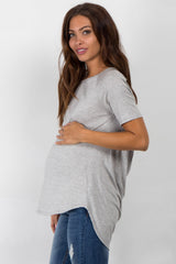Heather Grey Strappy Open Back Maternity Top