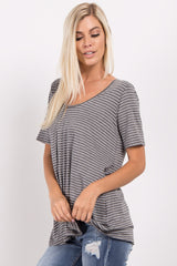 Charcoal Grey Striped Cutout Back Top