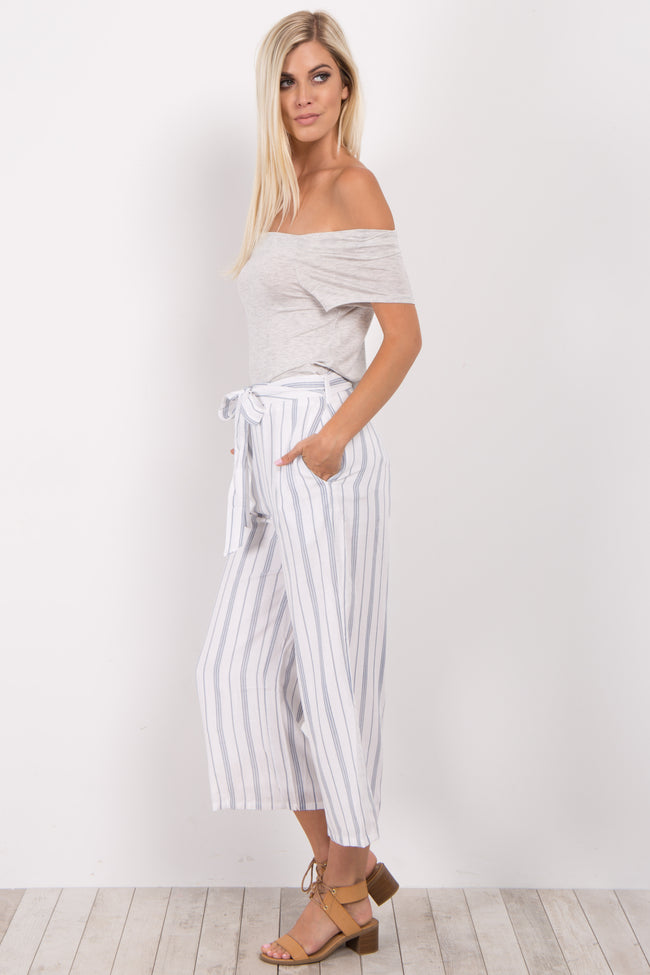 Navy Blue Striped Wide Leg Cropped Pants