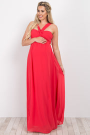 Red Strappy Back Ruched Bust Maternity Evening Gown