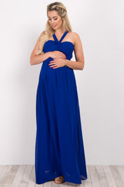 Blue Strappy Back Ruched Bust Maternity Evening Gown