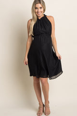 PinkBlush Black Chiffon High Neck Maternity Dress