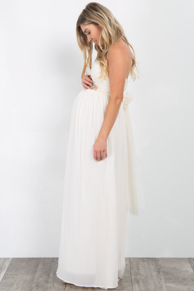 Cream Rhinestone Accent Strapless Maternity Gown