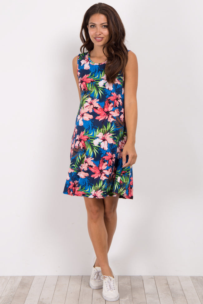 Navy Blue Tropical Hibiscus Print Maternity Dress