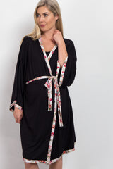Black Floral Trim Delivery/Nursing Maternity Robe
