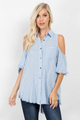 Light Blue Striped Cold Shoulder Fringe Top
