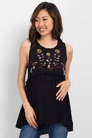 Black Embroidered Peplum Maternity Top