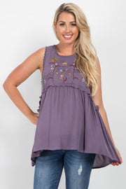 Purple Embroidered Peplum Maternity Top