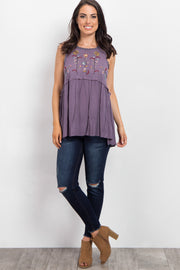 Purple Embroidered Peplum Top