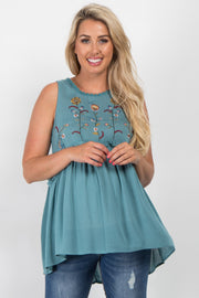 Teal Embroidered Peplum Maternity Top