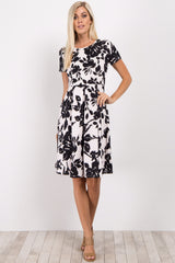 Black Floral Pleated Maternity Dress
