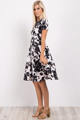 Black Floral Pleated Dress