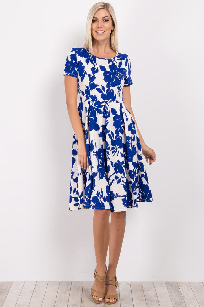 Blue Floral Pleated Dress