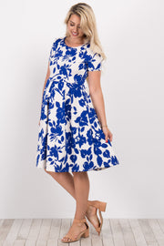 Blue Floral Pleated Maternity Dress