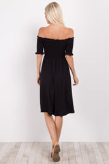 Black Smocked Off Shoulder Dress