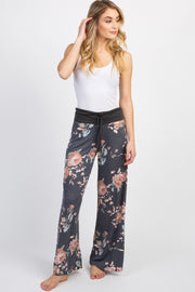 Charcoal Grey Floral Pajama Pants