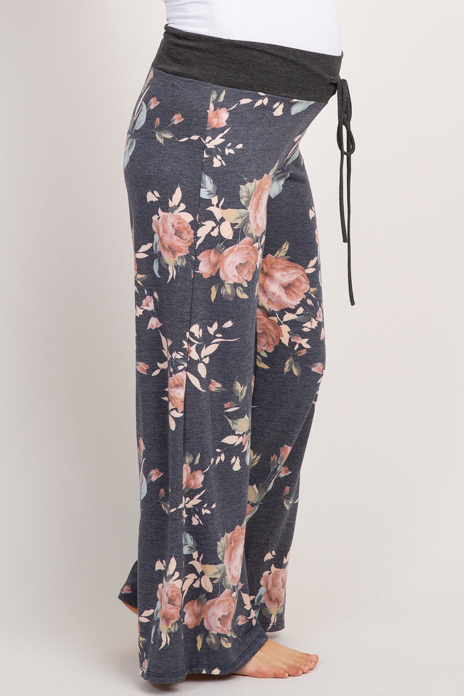 Charcoal Grey Floral Maternity Pajama Pants