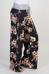 Black Floral Maternity Pajama Pants