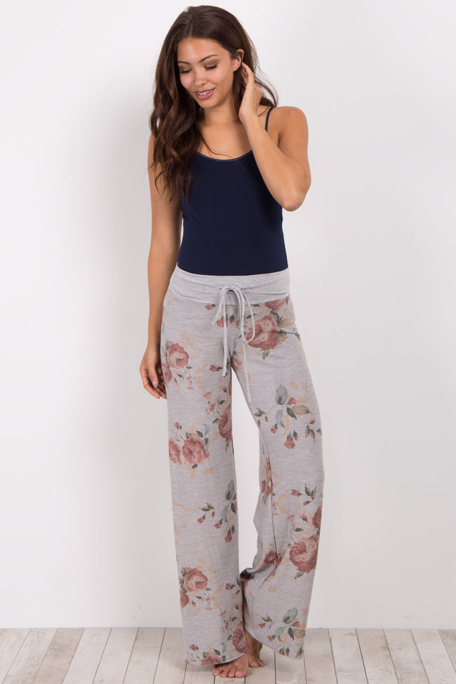 Heather Grey Floral Maternity Pajama Pants