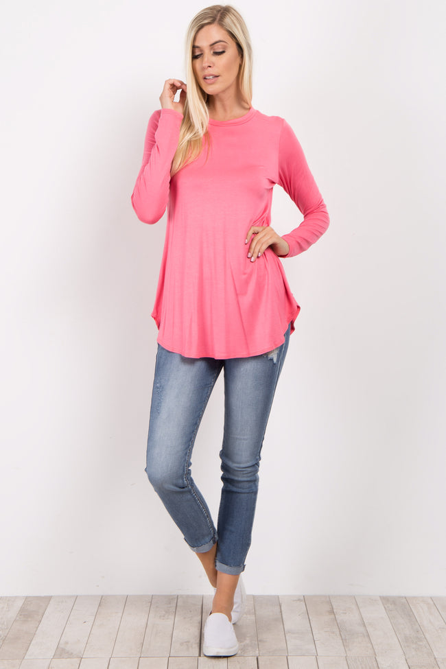 Pink Basic Long Sleeve Top