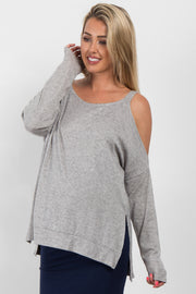 Heather Grey Cold Shoulder Knit Maternity Top