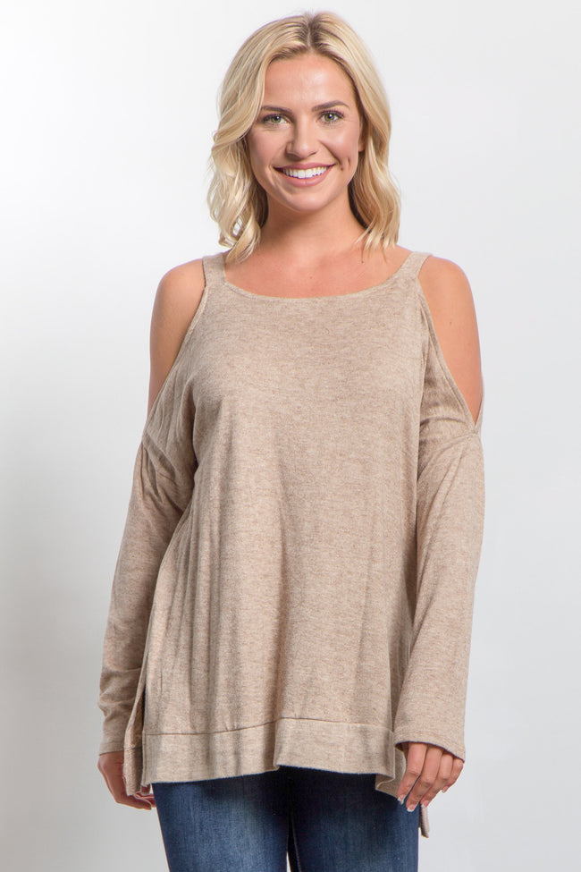 Taupe Cold Shoulder Knit Maternity Top