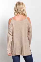 Taupe Cold Shoulder Knit Top
