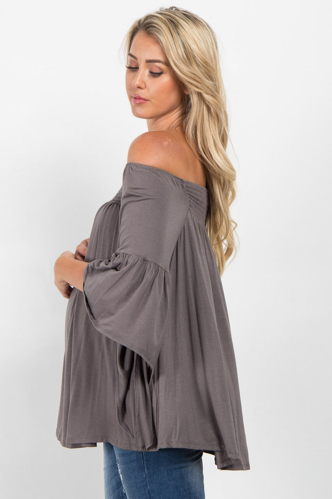 Grey Off Shoulder Bell Sleeve Maternity Top