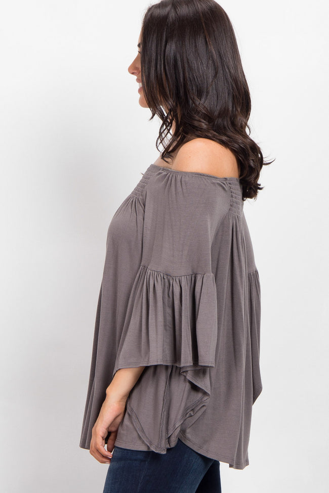 Grey Off Shoulder Bell Sleeve Top