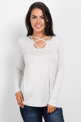 Light Heather Grey Cutout Front Maternity Top