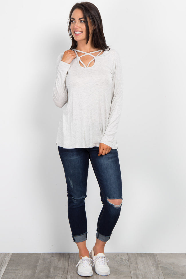Light Heather Grey Cutout Front Top