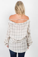 Grey Plaid Off Shoulder Button Down Maternity Top