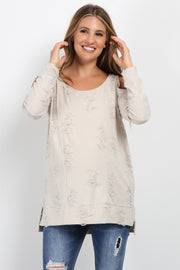 Cream Cold Shoulder Distressed Maternity Top