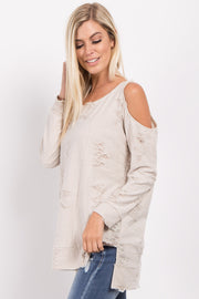 Cream Cold Shoulder Distressed Top