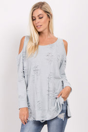 Light Blue Cold Shoulder Distressed Top