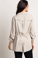 Cream Cinched Utility Jacket